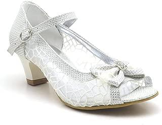 Sarıkaya Taşlı Fiyonklu Sedef Topuklu Kız Çocuk Abiye Ayakkabı