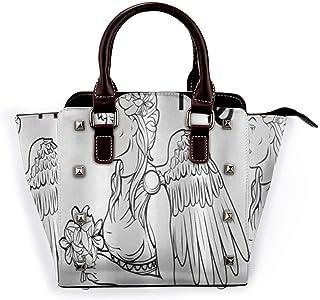 Zodiac Virgo Astrological Angel llevando un ramo de flores de lirio en un vestido griego Desmontable Moda Tendencia Bolso de las señoras Bolso de hombro