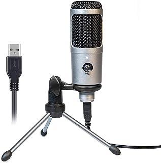 【2020年の最新】コンデンサーマイク USBマイク PC用マイク ps4 マイク スタンド付き 単一指向性 音量調節可能 録音/生放送/YOUTUBE/オンラインチャット/ゲーム実況におすすめ Windows/Mac/PS4対応 シルバー