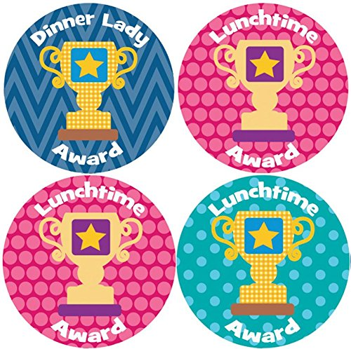 144 Dinner Time Trophies 30mm Children's Reward Stickers for Teachers or...