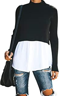 Exlura Women's Patchwork Shirt Ribbed Sleeve Shirt Hem Button Down 2 in 1 Pullover Tops