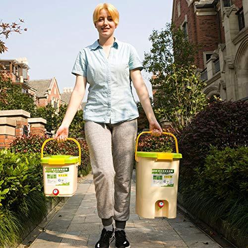 FMXYMC Cubo de Basura de Cocina de 2 Piezas con Placa de Filtro, Cubo de Basura de Cocina con Tapa, Barril de Compost Interior con Grifo de Drenaje, Juego de 12 y 21 litros