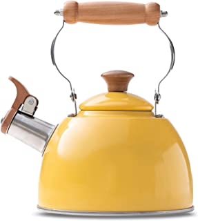 ROCKURWOK Tea Kettle Stovetop Whistling Teapot, Stainless Steel, 1.6-Quart Yellow