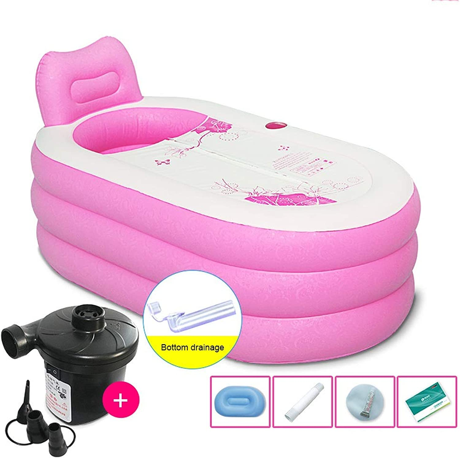 Pink Inflatable Bath Tub Freestanding, Foldable Portable PVC Soaking Tub Thickening For Adults And Kids, Rectangle Inflatable Kids Swimming Pool (color   Electric Pump, Size   M)