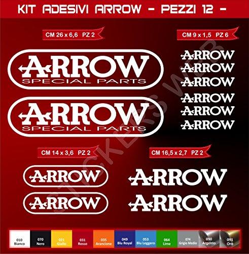 Pimastickerslab Kit Adesivi Stickers Arrow -12 Pezzi- -Scegli Colore- Moto Motorbike cod.0577 (Bianco cod. 010)
