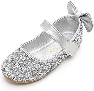 4e76a38a4e0 YING LAN Girl Round-Toe Sparkle Bowknot Ballet Ballerina Flat Shoes
