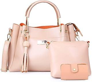 Shining Star Women's Handbag with Sling Bag and Card Holder (Set of 3)