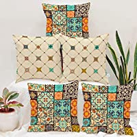 STITCHNEST Canvas Cotton 180 TC Cushion Cover, 12 x 12 Inch, Multicolour, 5 Pieces