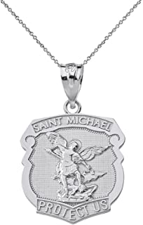 Sterling Silver Saint Michael Protect Us Shield Shaped Medal Necklace