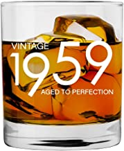 1959 60th Birthday Gifts for Men and Women Whiskey Glass | Bourbon Scotch Glasses 60th Bday Gift Ideas for Him Her Dad Mom Husband Wife | 11 oz Whisky Old Fashioned Bar Glasses Lowball Decorations
