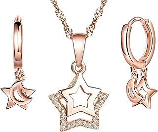 Collar de plata de ley 925 para mujer, colgante de estrella, aretes de estrella, juegos de joyas de estrella, pendientes, ...
