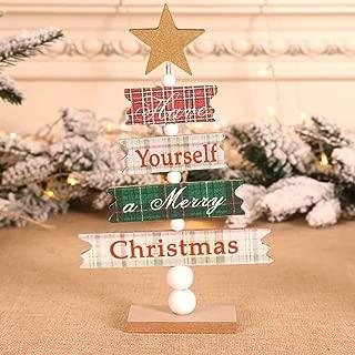 Dergo ☀ Wooden Mini Christmas Tree Desktop Ornaments Merry Christmas Party Decor (A)