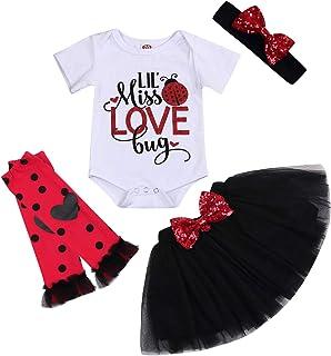 GRNSHTS Toddler Baby Girls Valentine's Day Outfits Lil' Miss Love Bug Romper+Tutu Skirt+Leg Warmers+Headband 4Pcs Clothes Set