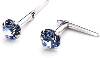 925 Real Sterling Silver Andralok Stud Earrings & 3mm Crystal | Various Colors