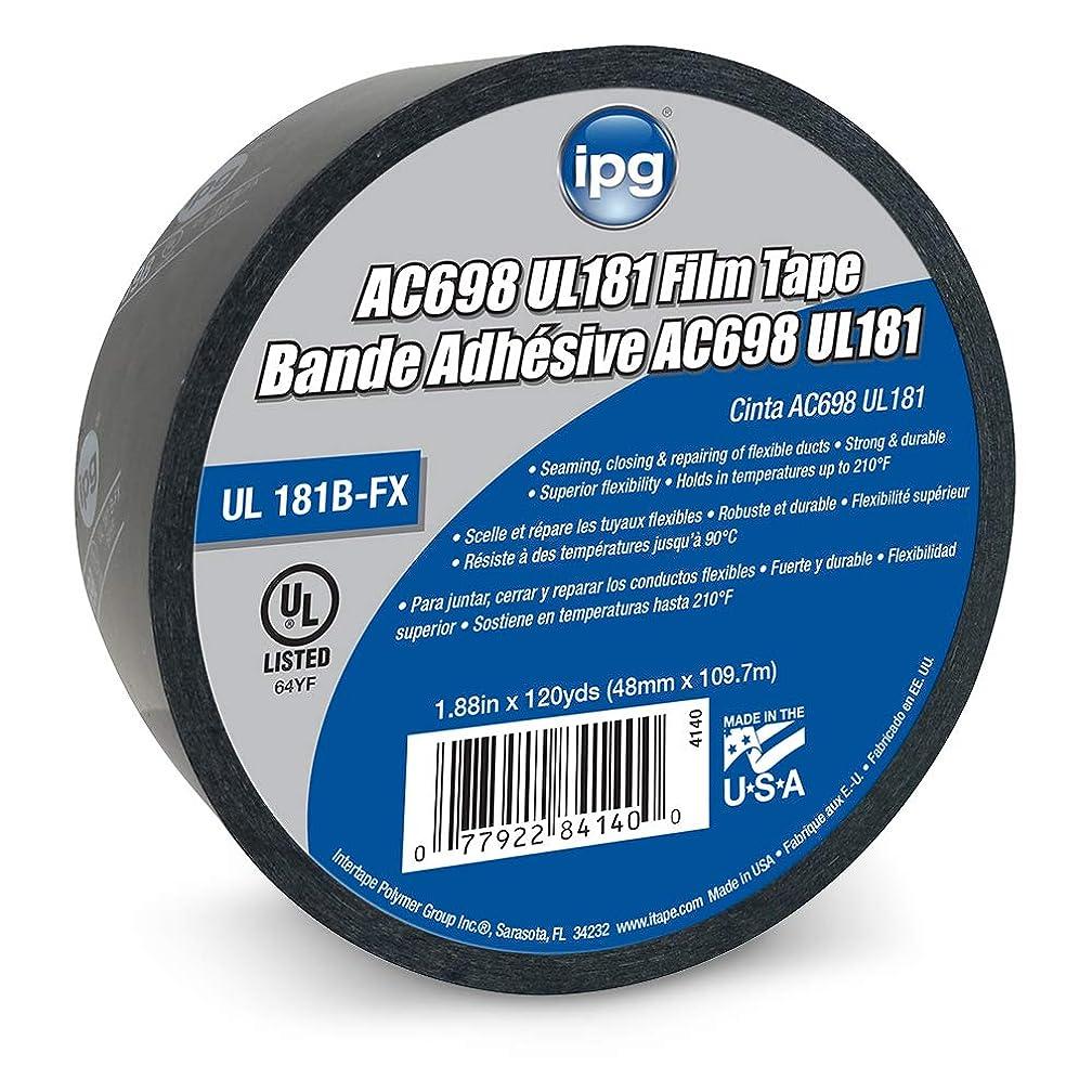 IPG AC698 UL181 Printed Film Black HVAC Tape, 1.88