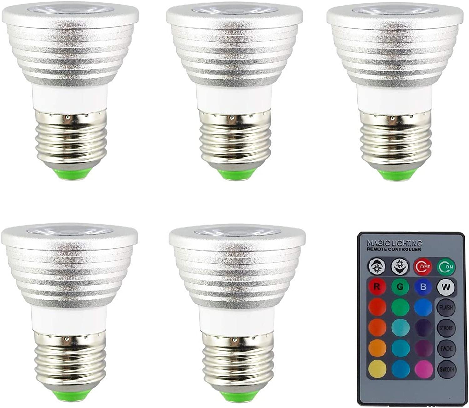 Ruiyue 5 PCS E27 E26 RGB LED Spotlight 3 W LED Lamp 85265V lamp High Power 16 colors Changeable Home Decoration Infrared Remote Control