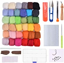 36 Color Art Wool Needle, Wool Felting, Wool Needle Felting Kit Handles-Wool Felting Tools Kit Suitable for Adults and Children to Handmade A Variety of Felt Works (36 Color)