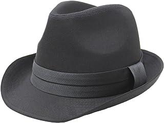 (エクサス)EXAS 無地ブラックボディサテンテープ中折れハット(透明な帽子置き付き) ブラックブラック