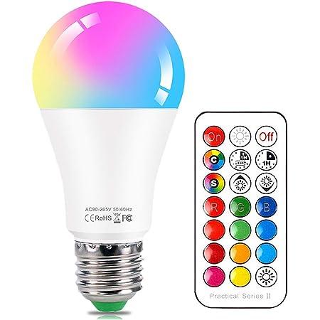 Lampadine Colorate LED E27 10W Dimmerabile RGBW Luce Fredda & Cambia Colore Lampadina con Telecomando, 12 scelte di colore, Decorazioni per la casa, Party, Bar