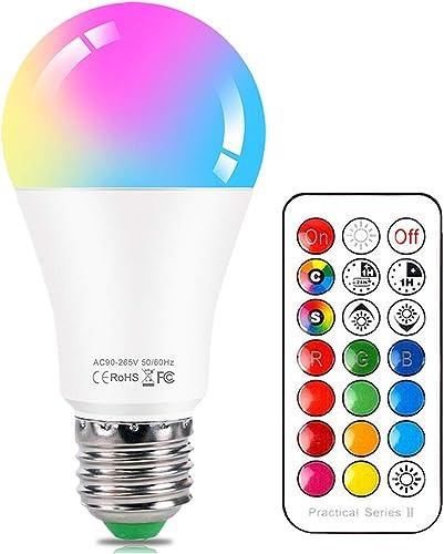 Ampoule LED Couleur E27 10W Changement de Couleur Dimmable LED Bulbs 12 choix de couleurs, 21 key Télécommande Compri...