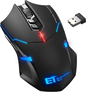 VicTsing Wireless Gaming Mouse with Unique Silent Click, Breathing Backlit, 2 Programmable Side Buttons, 2400 DPI, Ergonom...
