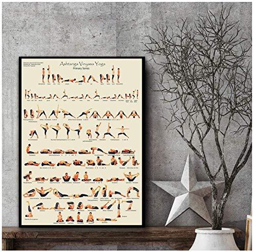 """Surfilterdruck auf Leinwand Yoga Ashtanga Primary Series Poster und Drucke Wandkunst Bild Leinwandmalerei für Wohnzimmer Wohnkultur 27.5"""" x 39,4""""(70x100cm) No Frame 6"""