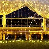 600 Led 6Mx3M Cortina De Luz Para Exteriores Navidad Ip44 Luces Navideñas a Prueba De Agua 8 Modos Blanca Cálida Para Exteriores Cadena De Luces Led Para Exteriores Para Navidad, Jardín y Boda