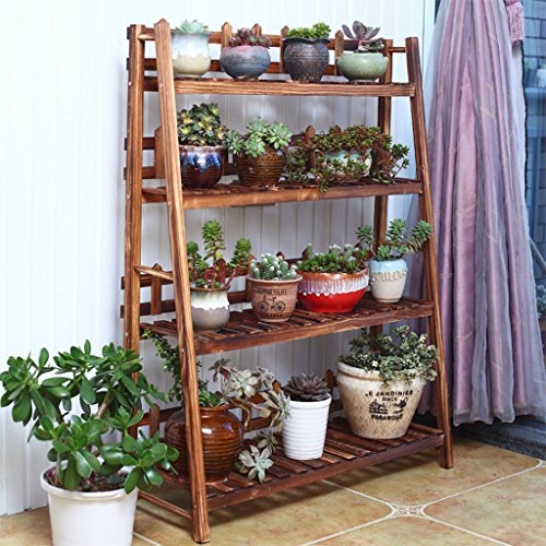 $Etagère d'exposition Support de fleur en bois massif Support de plante multicouche Stand de salon en marbre ( Couleur : A , taille : 50*31*116cm )