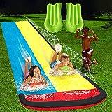 Toboganes de agua para césped para niños y adultos, 15.35 pies, jardín, patio trasero, carriles de carreras gigantes y toboganes de agua para piscina con almohadilla de choque para niños(15.35 pies)