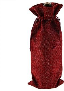Haokaini 12 Pièces Sac à Cordon de Vin Simple Tissu de Lin Sac Décoratif Décor de Vacances Fournitures de Fête