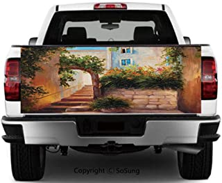 Rustic Vinyl Wall Stickers,Stone Street Gate in an Old Town with Blooming Flowers Oil Painting Cars Trucks Decorative Decal Sticker,55x15 Inches,Dark Orange Dark Green