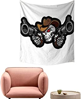 alsohome Wall Tapestry Bohemian Tapestry for Bedroom Skull Cowboy Targets Shooting with The Guns Wild West Scary Illustration Art Brown 54