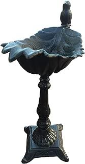 Jashem Cast Iron Bird Feeder Rustproof Maple Leaf Shape Bird Bath Decorative Wrought Crafts Heavy Bird Feeder for Garden Villa Home 13.2 x 9.25 inches