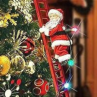 面白い素敵なクリスマスエレクトリックサンタクロースクライミングラダードール、2020クリエイティブクリスマスツリーハンギングオーナメント、新年キッズギフトパー
