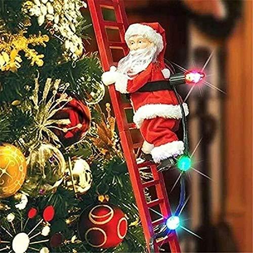 HIGHKAS Kletternder Weihnachtsmann auf Leiter mit Lichtern, Weihnachts-hängender Verzierungspedant für Haupttür-Wanddekor, elektrische Kletterleiter Santa Do.