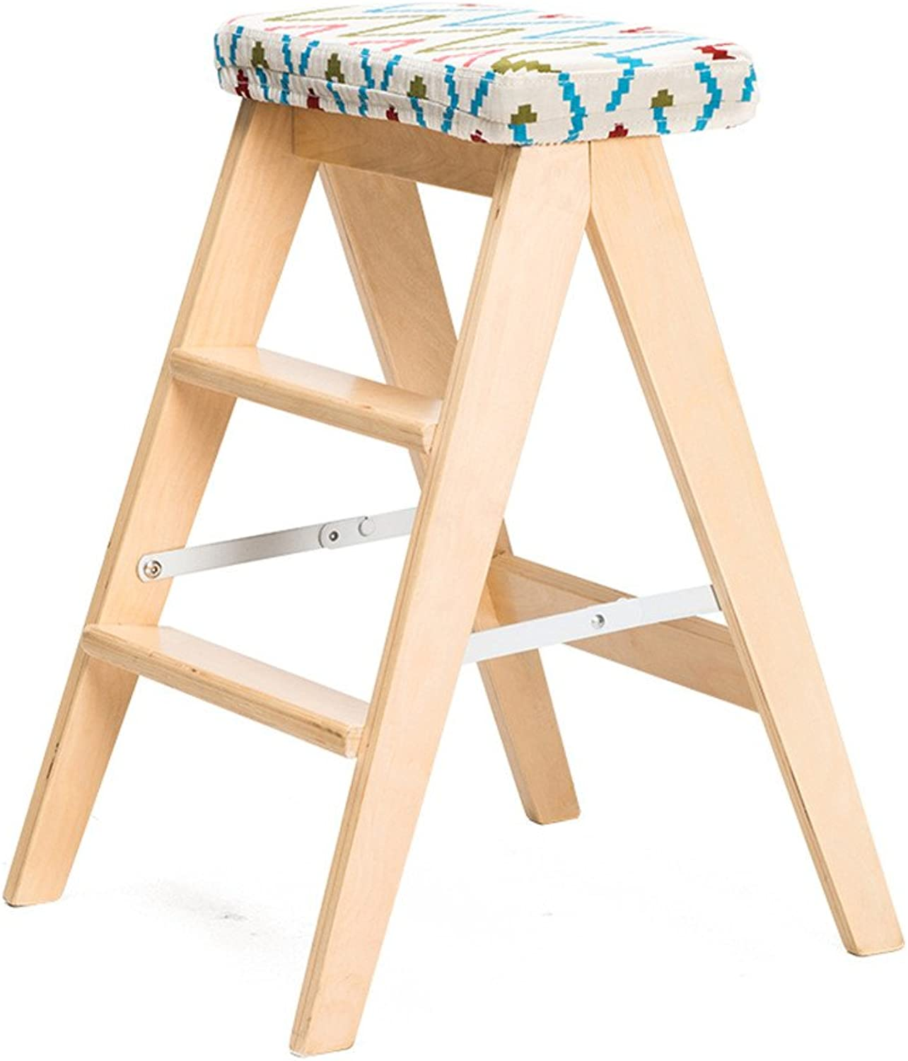 Yxsd Folding Stool Ladder With Cushion Dual-use 3-step Ladder, Birch, 3 Styles (color   Wood color, Size   3 )