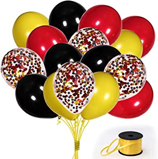 70Pack Red Black Yeloow Balloons, 12 Inch Red Black Yellow Latex Balloons Premium Helium Quality Sequins Balloon For Party Supplies and Decorations(With Yellow Ribbon)