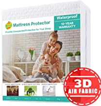 SOPAT Full Mattress Protector 100% Waterproof Mattress Pad Cover,3D Air Fabric,Breathable Smooth Soft Cover