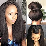 Glueless 360 Lace Frontal Wigs Kinky Straight Human Hair Wig with Baby Hair Pre Plucked Italian Yaki 360 Lace Front Wigs For Women 150 Density Peruvian Remy Hair Natural Hairline (20 inch, KS)
