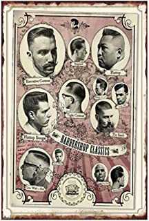 YOMIA Barber Poster Old Metal Signs Vintage, Funny Signs for Garage Man Cave Decor - Barbershop Signs 20X30cm