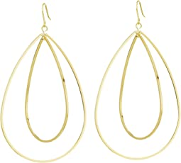 Kenneth Jay Lane - Polished Gold Double Open Oval Drop Fishhook Earrings