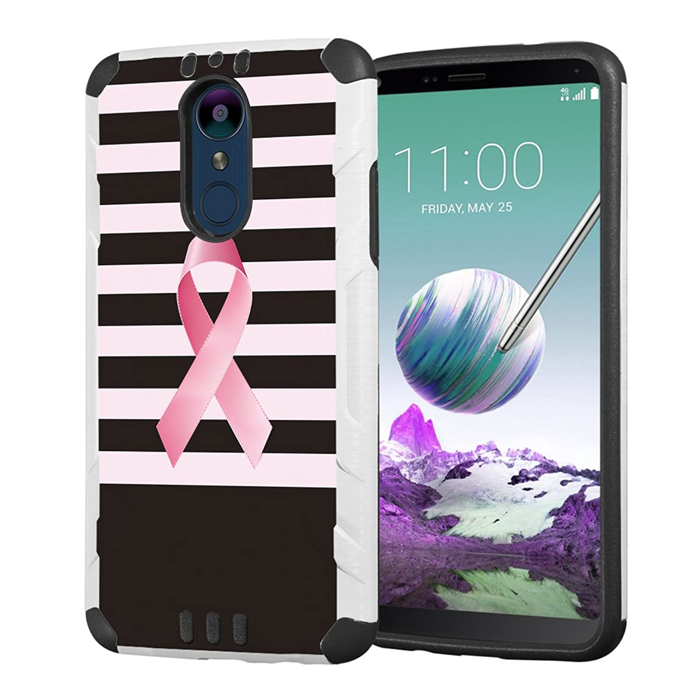 Moriko Case Compatible with LG Stylo 4 Plus, LG Stylo 4, LG Q Stylus [Drop Protection Hybrid Dual Layer Armor Protective Dual Layer Case White] for LG Stylo 4 - (Breast Cancer Awareness)