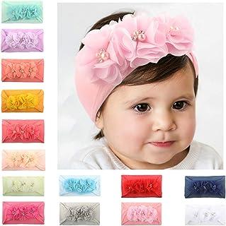 LAEMALLS 14 Pezzi Elastici Fascia Capelli Neonata, Cerchietto bambina, Fiore fascia, Accessori per capelli fotografia, Bam...