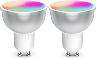 GU10 Led Bulbs, Smart LED WiFi Bulbs Daylight Lamps Multicolor LED Bulb Control by Smart Phone, Dimmable Spot Light Bulb Compatible with Alexa Google Assistant No Hub Required 2 Pack