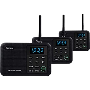 Wuloo Intercoms Wireless for Home 1 Mile Range 22 Channel 100 Digital Code Display Screen, Wireless Intercom System for Home House Business Office, Room to Room Intercom Communication(3Stations Black)