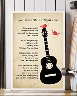 Mattata Decor Gift - You Shook Me All Night Long Song Lyrics Portrait Poster Print (24