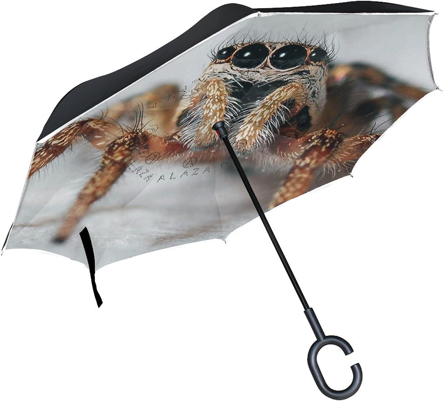 Animal Monkey Spider Fluffy Black Yellow Pet Danger Scary Ingreened Umbrella Large Double Layer Outdoor Rain Sun Car Reversible Umbrella