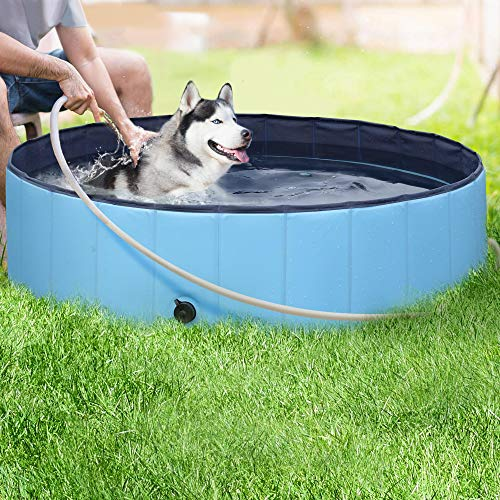Yaheetech Hundepool, Doggy Pool, Katzenpool, Faltbares Pool, Hundebadewanne PVC-rutschfest 120X30 cm
