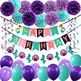 Mermaid Party Supplies Birthday Decorations, Happy Birthday Banners