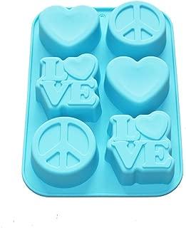 X-Haibei Love Heart Peace Sign Soap Mini Cake Jello Supplies Silicone Mold 6-Cavity